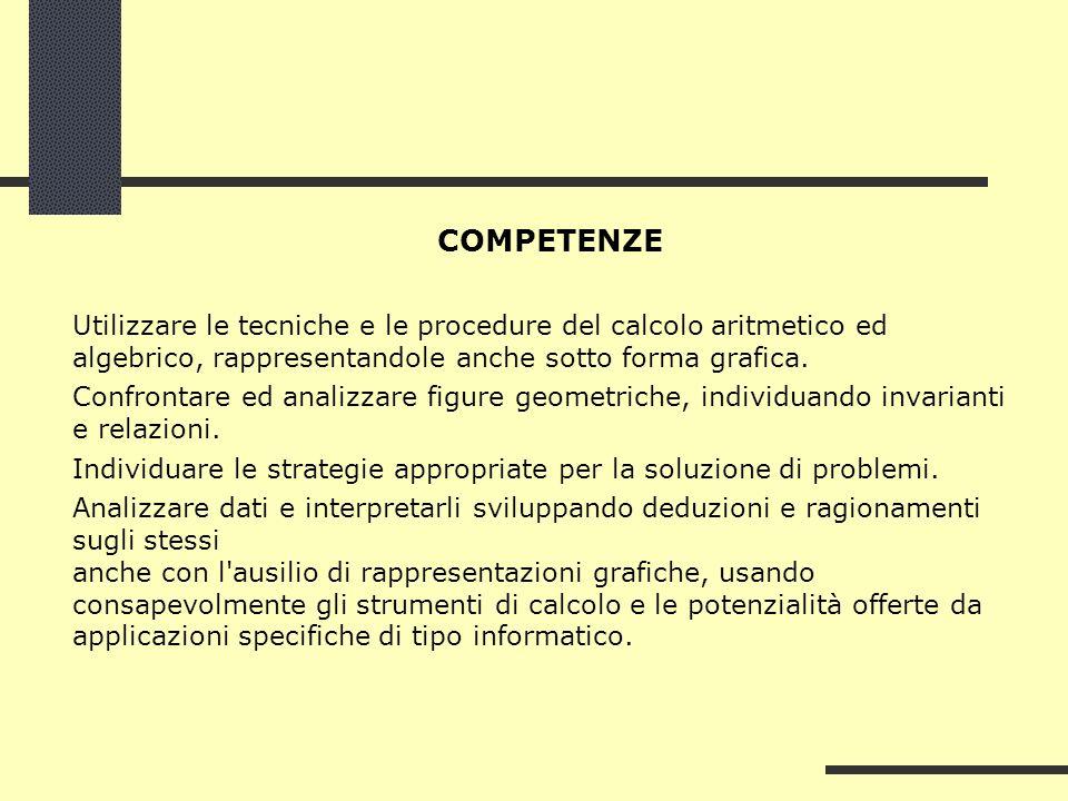 COMPETENZE Utilizzare le tecniche e le procedure del calcolo aritmetico ed algebrico, rappresentandole anche sotto forma grafica.