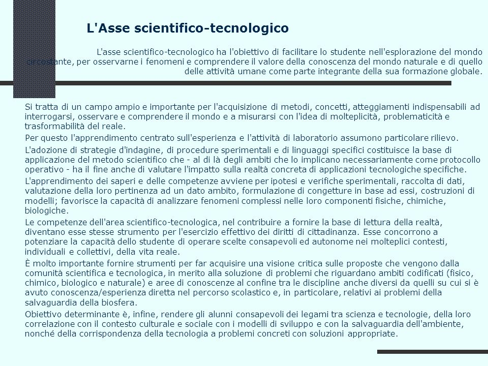 L Asse scientifico-tecnologico