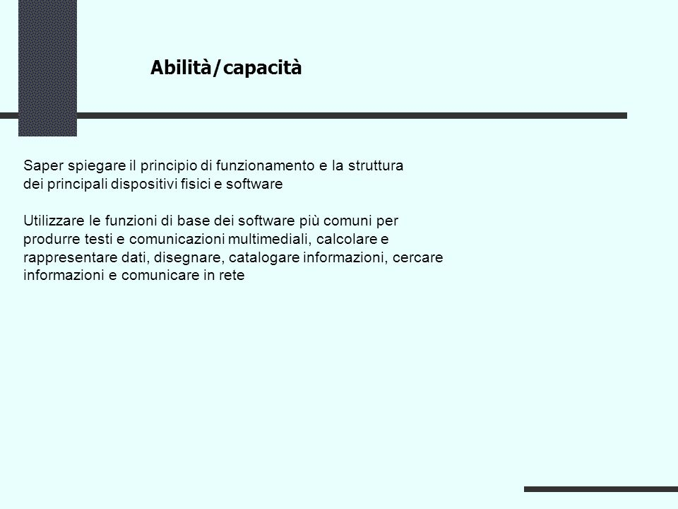 Abilità/capacità Saper spiegare il principio di funzionamento e la struttura. dei principali dispositivi fisici e software.