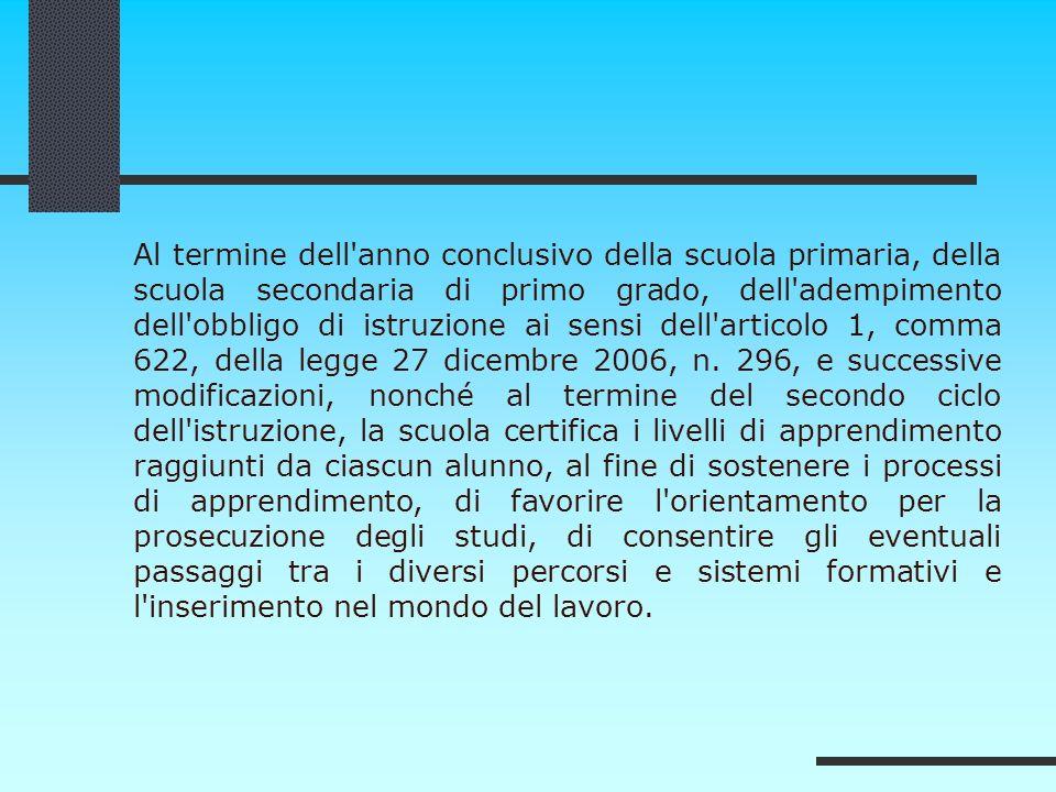 Al termine dell anno conclusivo della scuola primaria, della scuola secondaria di primo grado, dell adempimento dell obbligo di istruzione ai sensi dell articolo 1, comma 622, della legge 27 dicembre 2006, n.