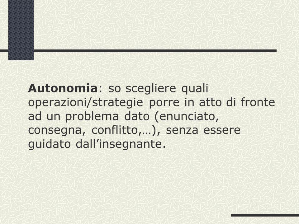 Autonomia: so scegliere quali operazioni/strategie porre in atto di fronte ad un problema dato (enunciato, consegna, conflitto,…), senza essere guidato dall'insegnante.