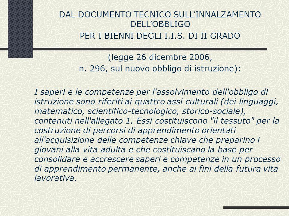 DAL DOCUMENTO TECNICO SULL'INNALZAMENTO DELL'OBBLIGO