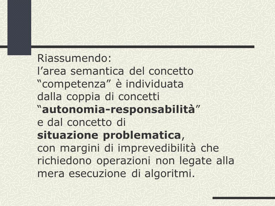 Riassumendo: l'area semantica del concetto competenza è individuata dalla coppia di concetti autonomia-responsabilità e dal concetto di situazione problematica, con margini di imprevedibilità che richiedono operazioni non legate alla mera esecuzione di algoritmi.