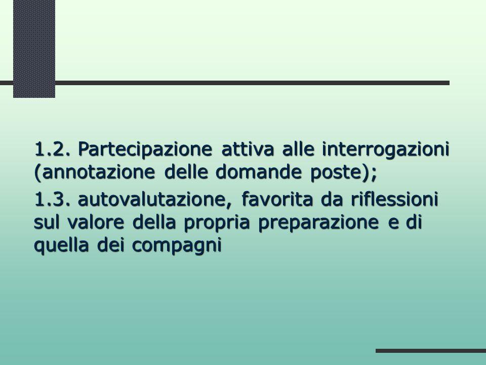 1.2. Partecipazione attiva alle interrogazioni (annotazione delle domande poste);