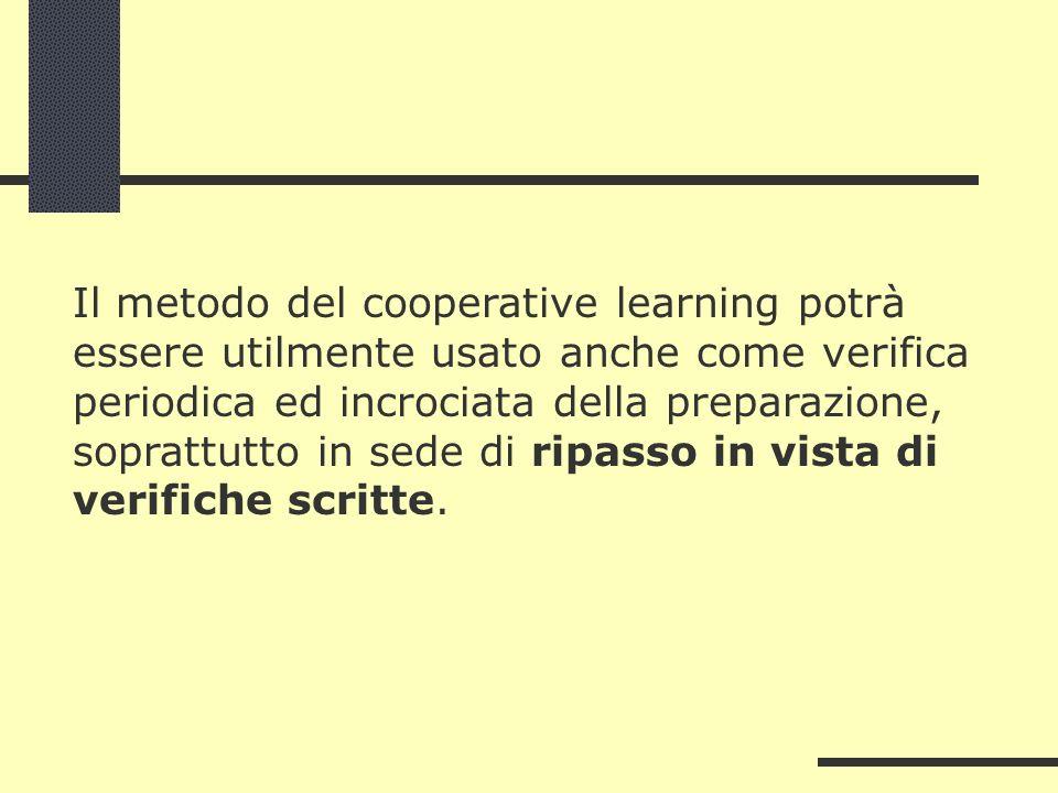 Il metodo del cooperative learning potrà essere utilmente usato anche come verifica periodica ed incrociata della preparazione, soprattutto in sede di ripasso in vista di verifiche scritte.
