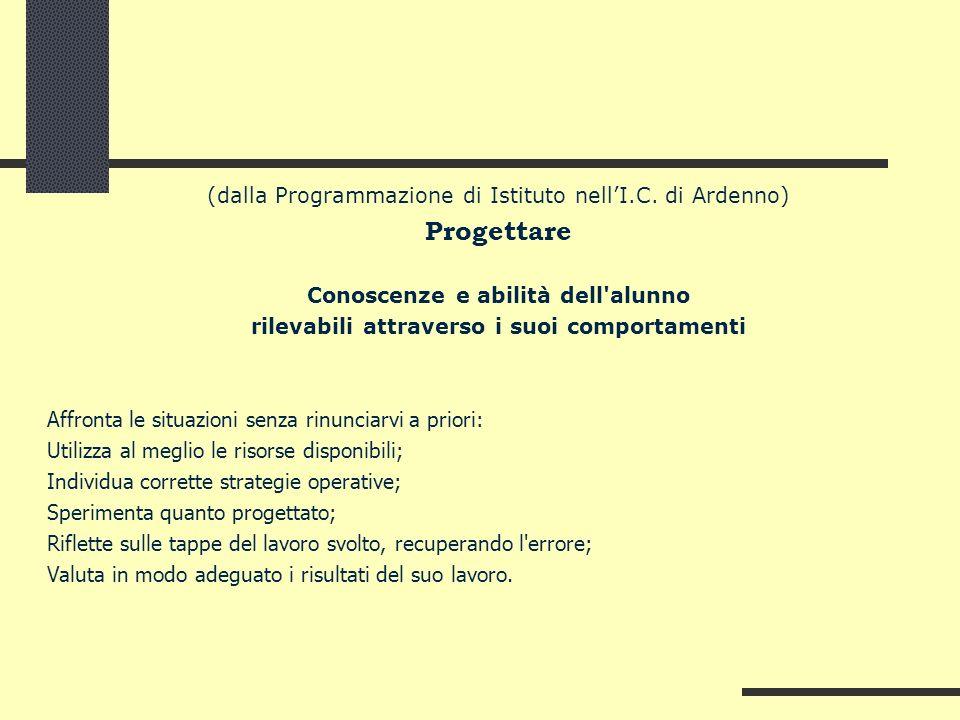 Progettare (dalla Programmazione di Istituto nell'I.C. di Ardenno)