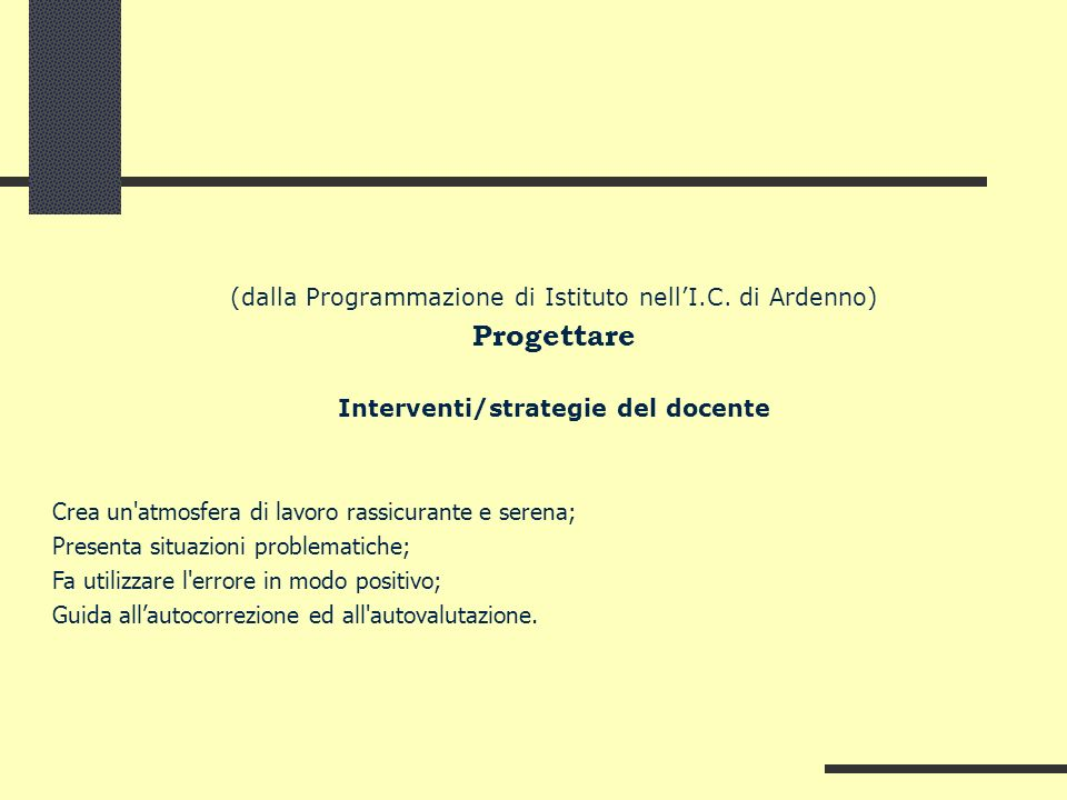 Interventi/strategie del docente