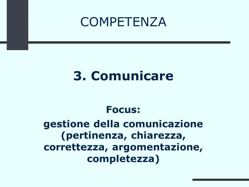COMPETENZA 3. Comunicare Focus: