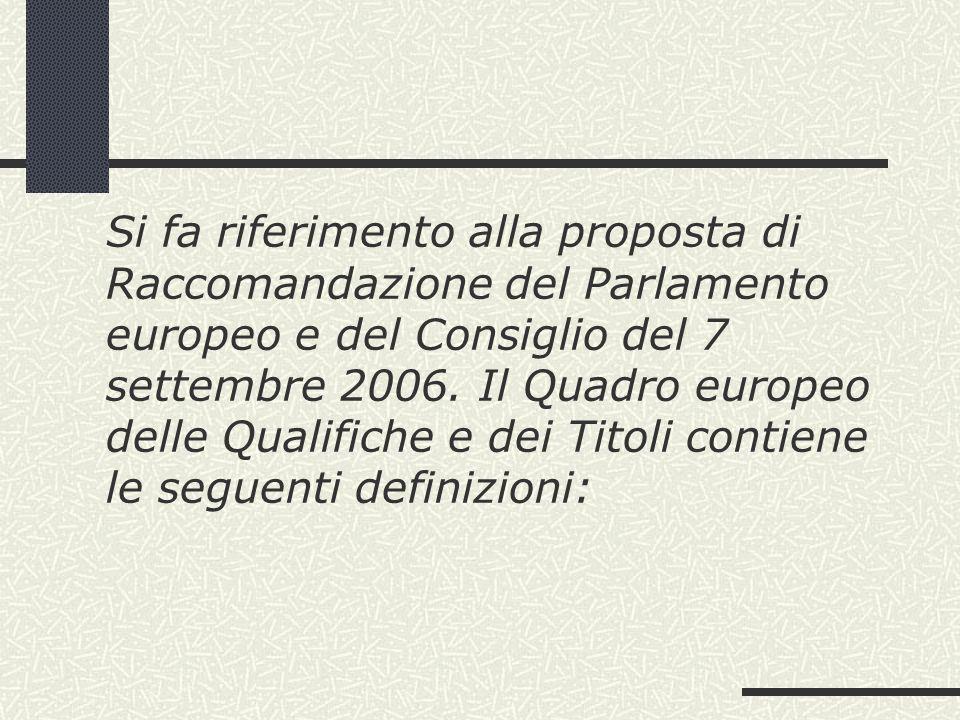 Si fa riferimento alla proposta di Raccomandazione del Parlamento europeo e del Consiglio del 7 settembre 2006.