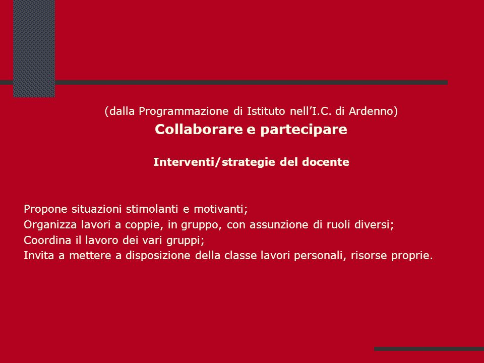 Collaborare e partecipare Interventi/strategie del docente