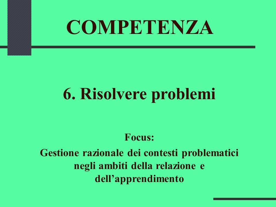 COMPETENZA 6. Risolvere problemi Focus: