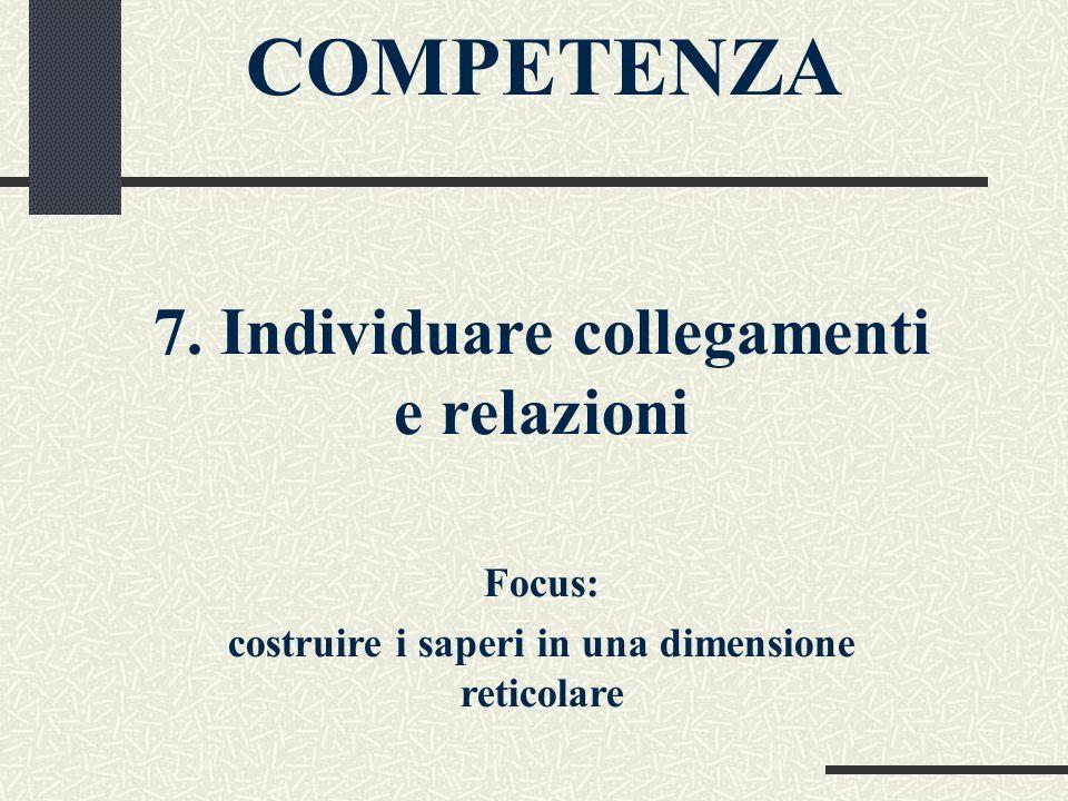COMPETENZA 7. Individuare collegamenti e relazioni Focus: