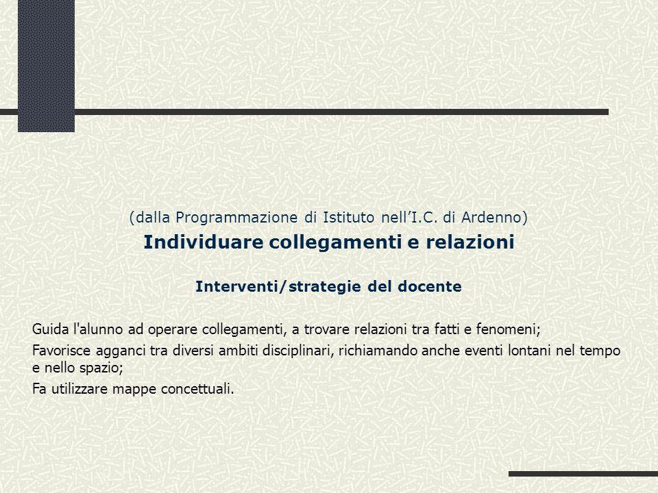 Individuare collegamenti e relazioni Interventi/strategie del docente