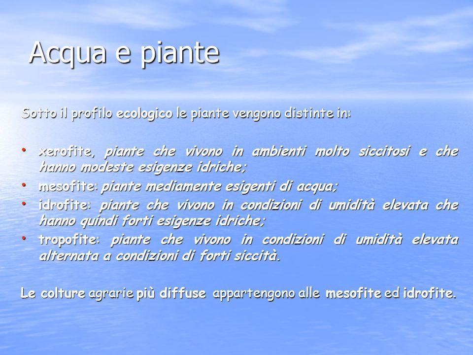 Acqua e piante Sotto il profilo ecologico le piante vengono distinte in: