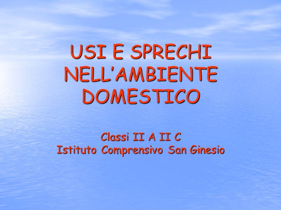 USI E SPRECHI NELL'AMBIENTE DOMESTICO Classi II A II C Istituto Comprensivo San Ginesio