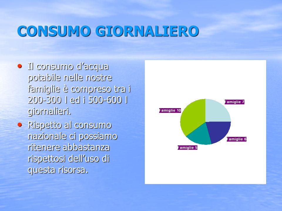 CONSUMO GIORNALIERO Il consumo d'acqua potabile nelle nostre famiglie è compreso tra i 200-300 l ed i 500-600 l giornalieri.