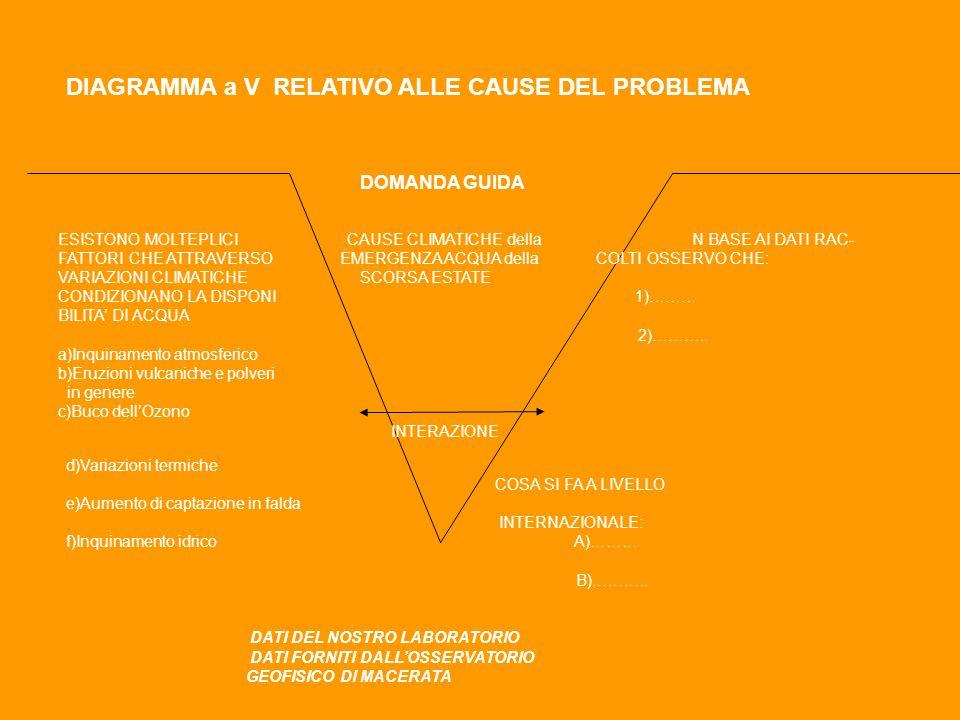 DIAGRAMMA a V RELATIVO ALLE CAUSE DEL PROBLEMA