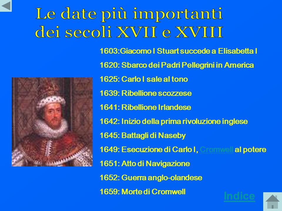 Le date più importanti dei secoli XVII e XVIII Indice