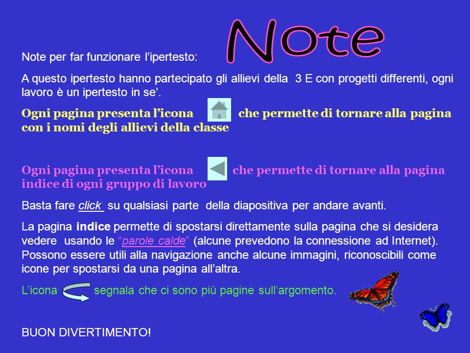 Note Note per far funzionare l'ipertesto: