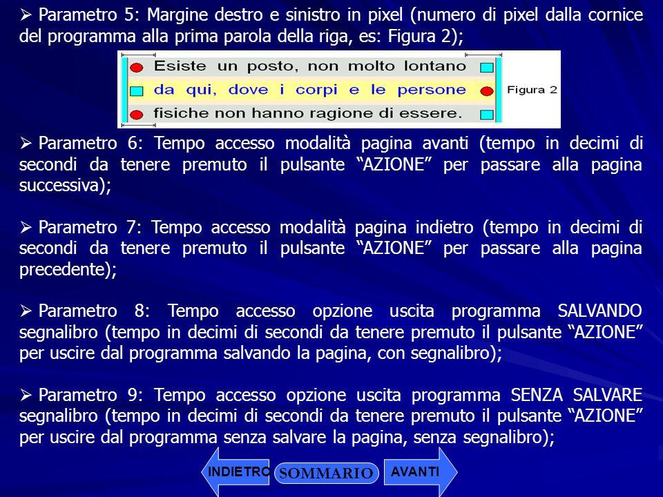 Parametro 5: Margine destro e sinistro in pixel (numero di pixel dalla cornice del programma alla prima parola della riga, es: Figura 2);