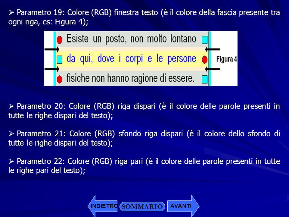 Parametro 19: Colore (RGB) finestra testo (è il colore della fascia presente tra ogni riga, es: Figura 4);