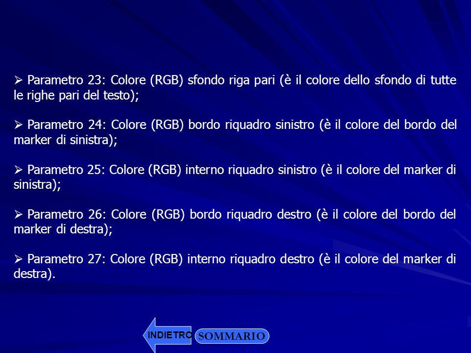 Parametro 23: Colore (RGB) sfondo riga pari (è il colore dello sfondo di tutte le righe pari del testo);