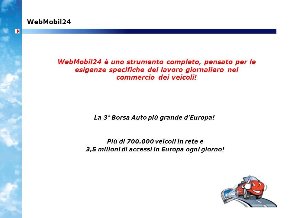 WebMobil24 WebMobil24 è uno strumento completo, pensato per le esigenze specifiche del lavoro giornaliero nel commercio dei veicoli!
