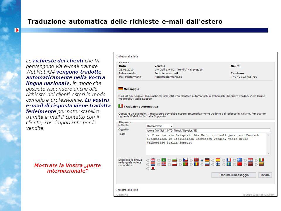 Traduzione automatica delle richieste e-mail dall'estero
