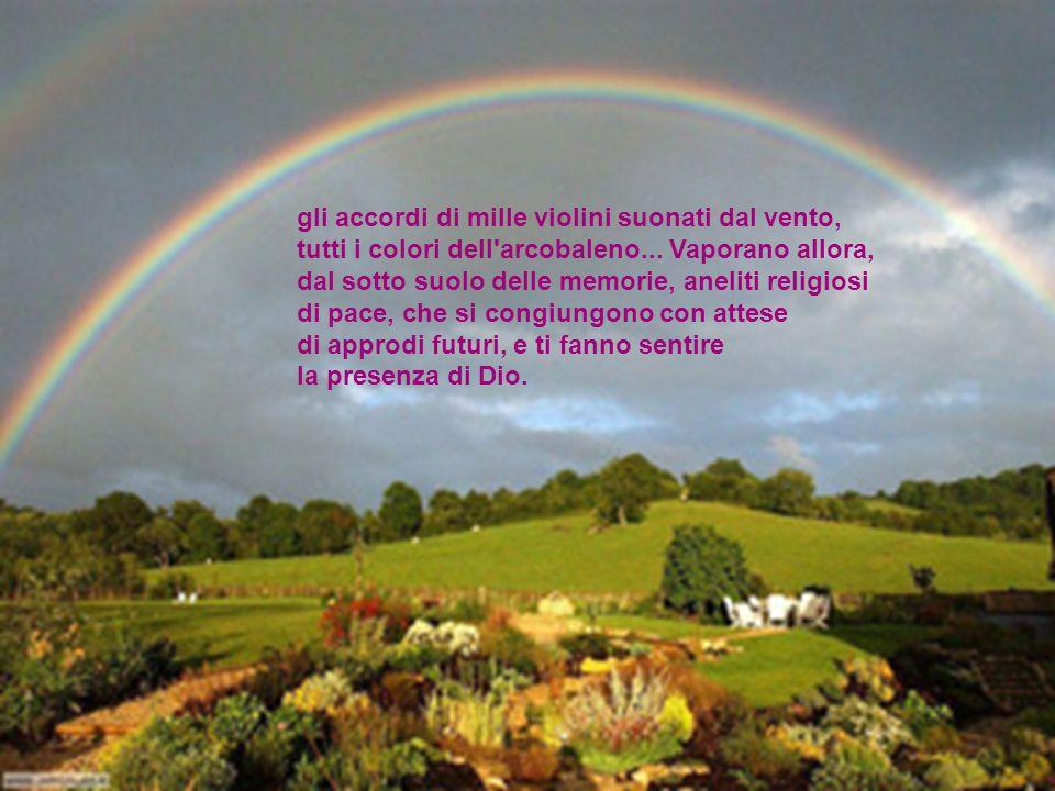 gli accordi di mille violini suonati dal vento, tutti i colori dell arcobaleno... Vaporano allora, dal sotto suolo delle memorie, aneliti religiosi di pace, che si congiungono con attese