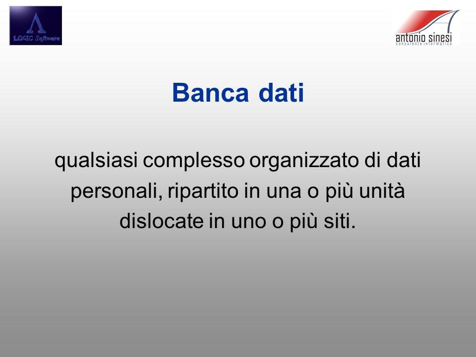 Banca dati qualsiasi complesso organizzato di dati