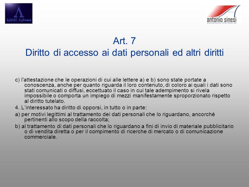 Art. 7 Diritto di accesso ai dati personali ed altri diritti