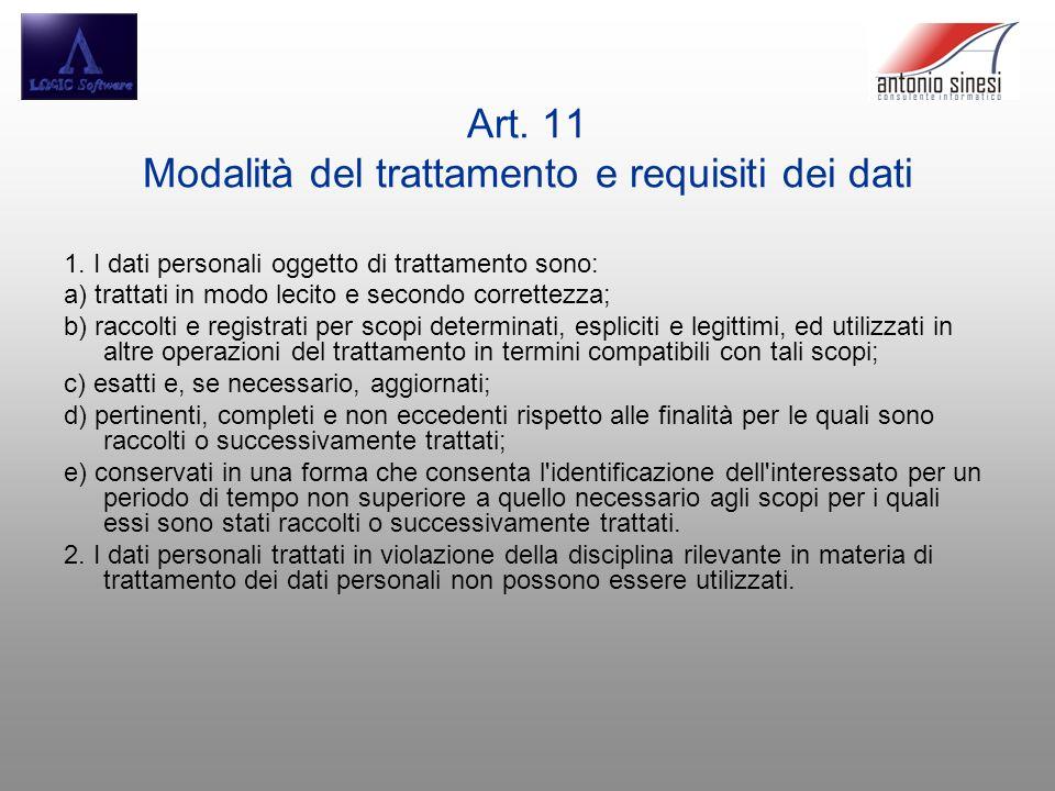 Art. 11 Modalità del trattamento e requisiti dei dati