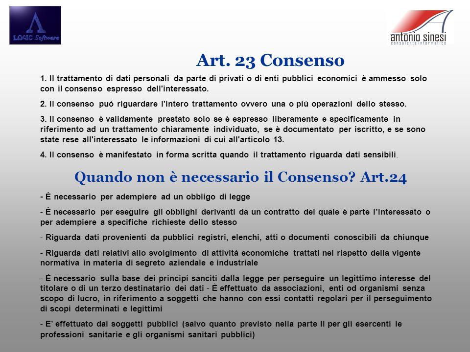 Quando non è necessario il Consenso Art.24