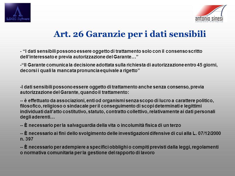 Art. 26 Garanzie per i dati sensibili