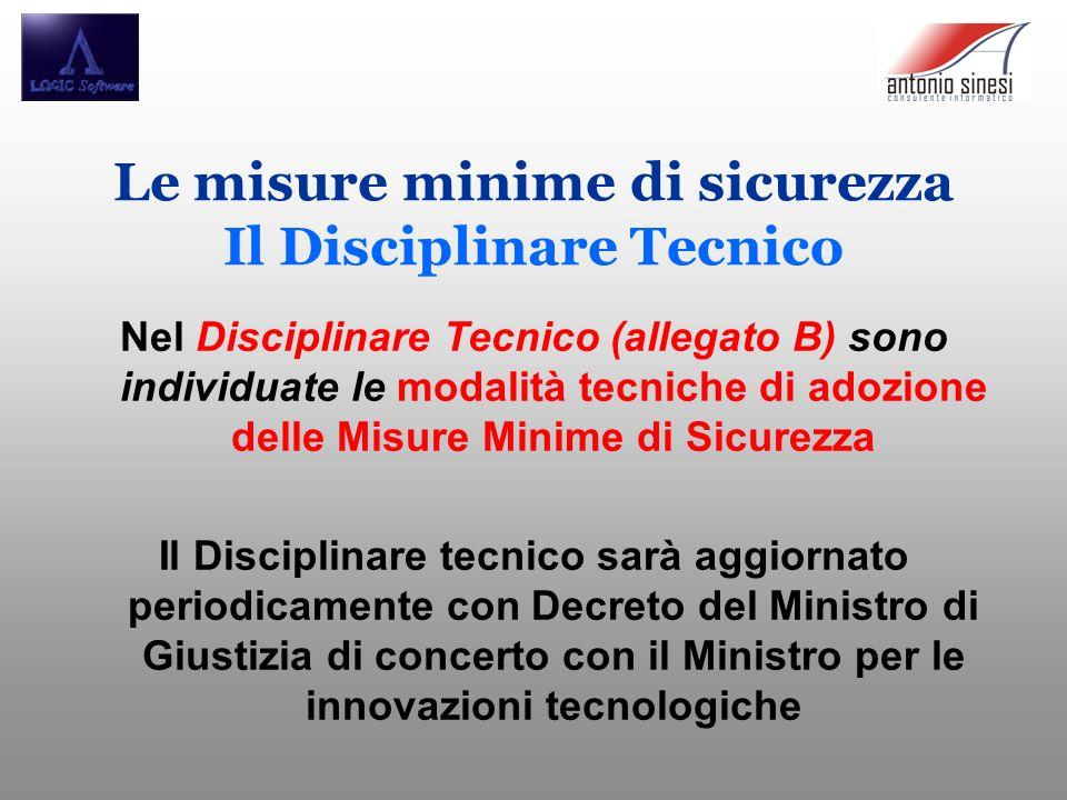 Le misure minime di sicurezza Il Disciplinare Tecnico
