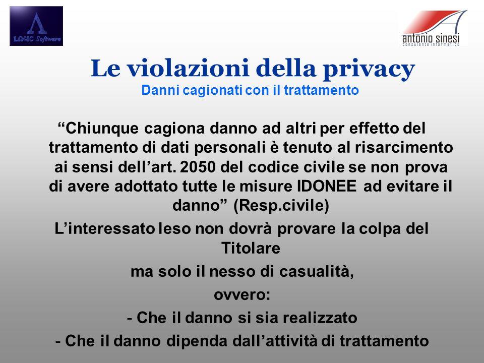 Le violazioni della privacy Danni cagionati con il trattamento