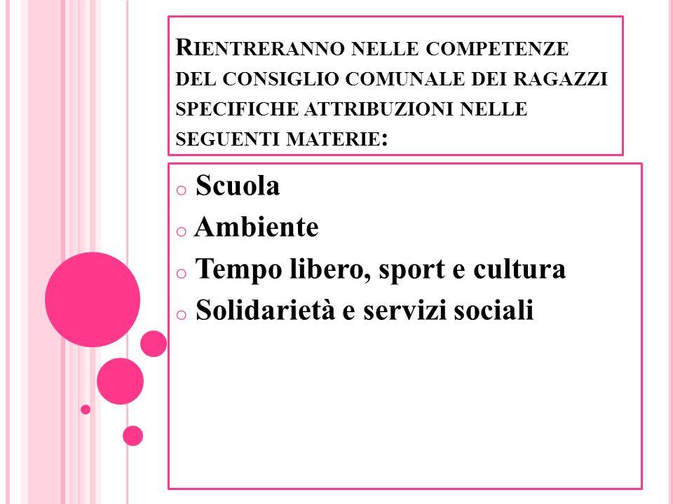 Tempo libero, sport e cultura Solidarietà e servizi sociali