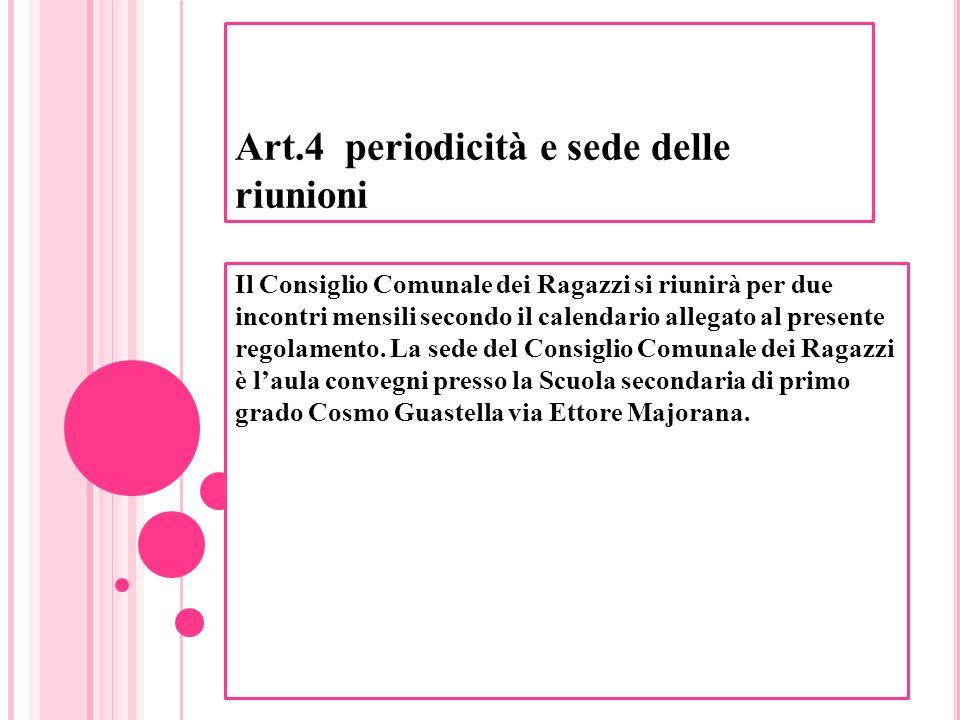 Art.4 periodicità e sede delle riunioni