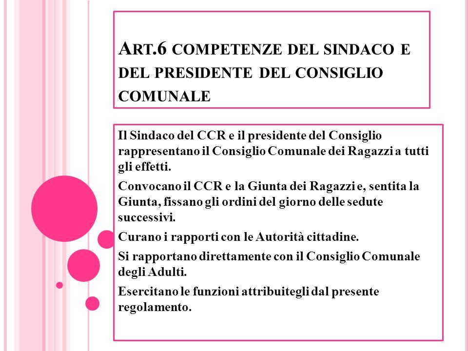 Art.6 competenze del sindaco e del presidente del consiglio comunale
