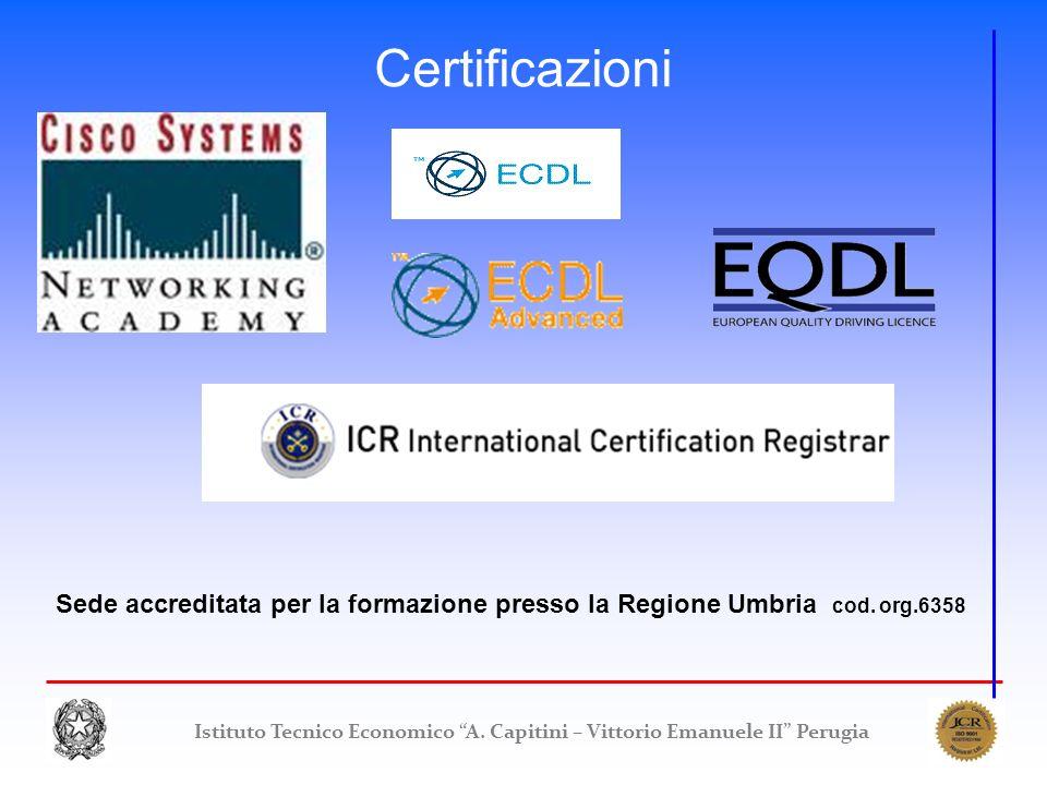 Certificazioni Sede accreditata per la formazione presso la Regione Umbria cod. org.6358.