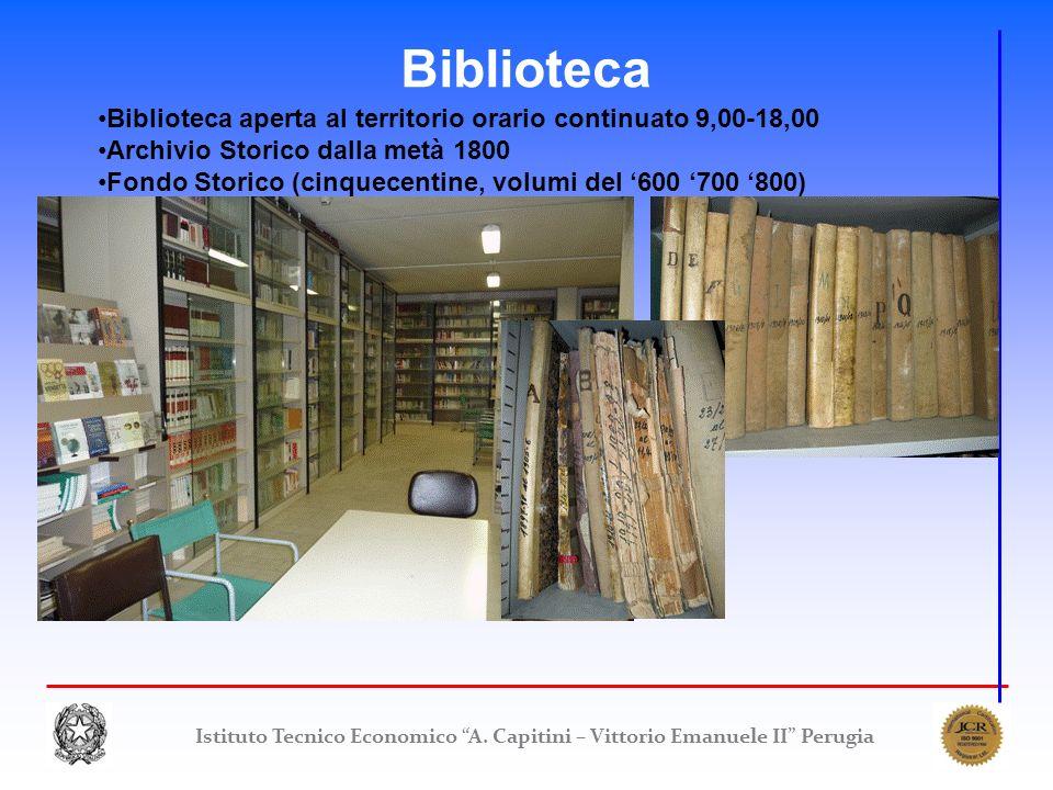 Biblioteca Biblioteca aperta al territorio orario continuato 9,00-18,00. Archivio Storico dalla metà 1800.
