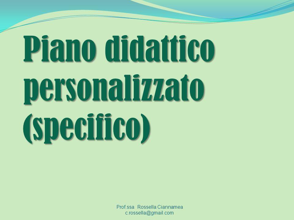 Piano didattico personalizzato (specifico)