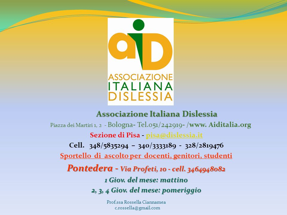 Pontedera - Via Profeti, 10 - cell. 3464948082