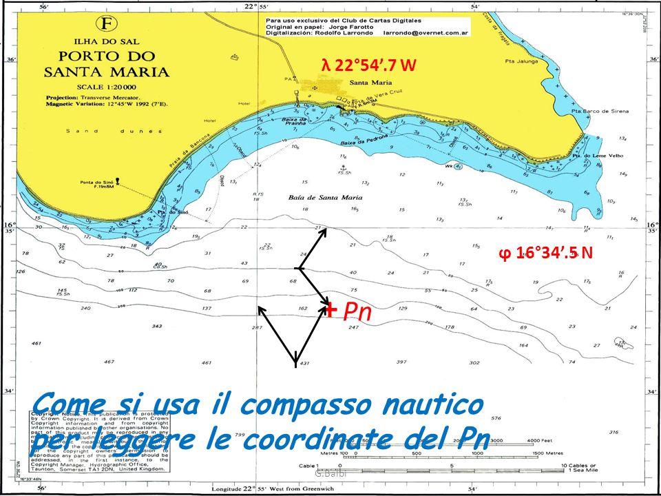 + Pn Come si usa il compasso nautico per leggere le coordinate del Pn