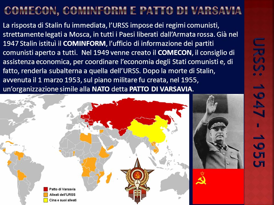 Comecon, cominform e patto di varsavia