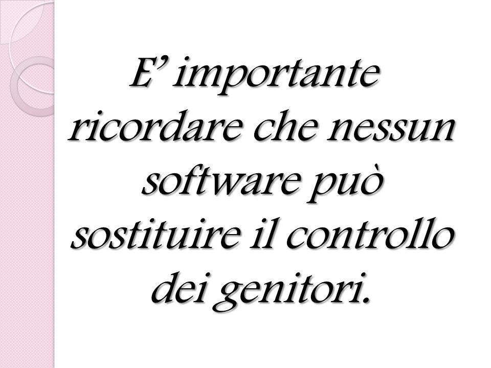 E' importante ricordare che nessun software può sostituire il controllo dei genitori.