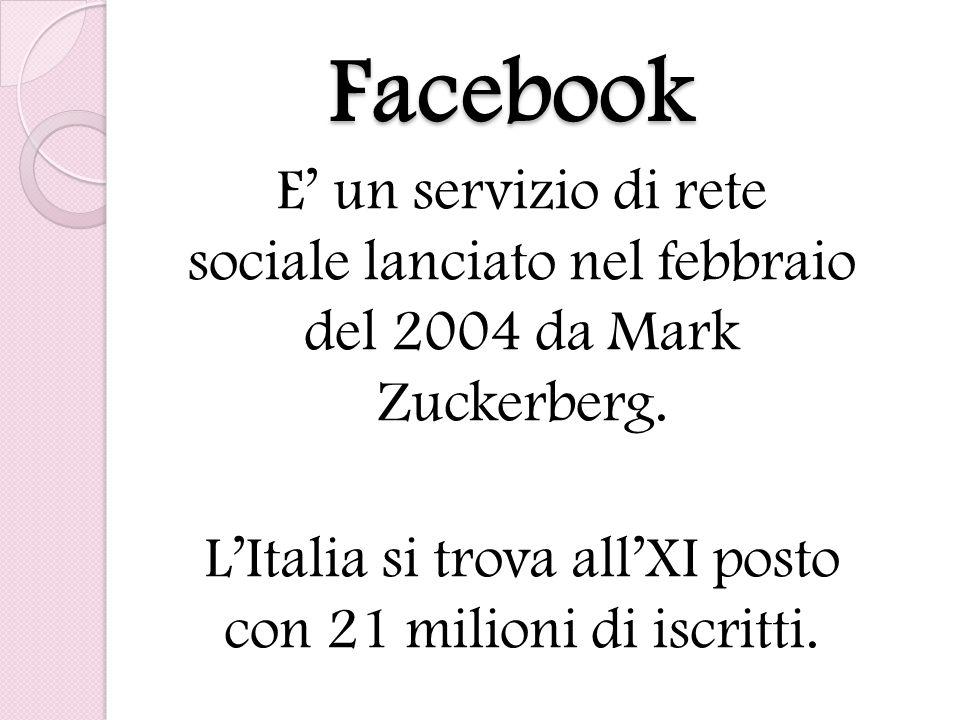 L'Italia si trova all'XI posto con 21 milioni di iscritti.