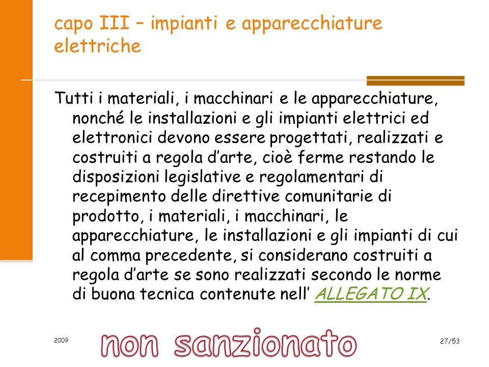 capo III – impianti e apparecchiature elettriche