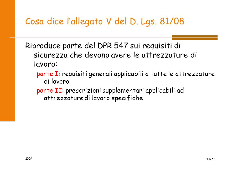Cosa dice l'allegato V del D. Lgs. 81/08