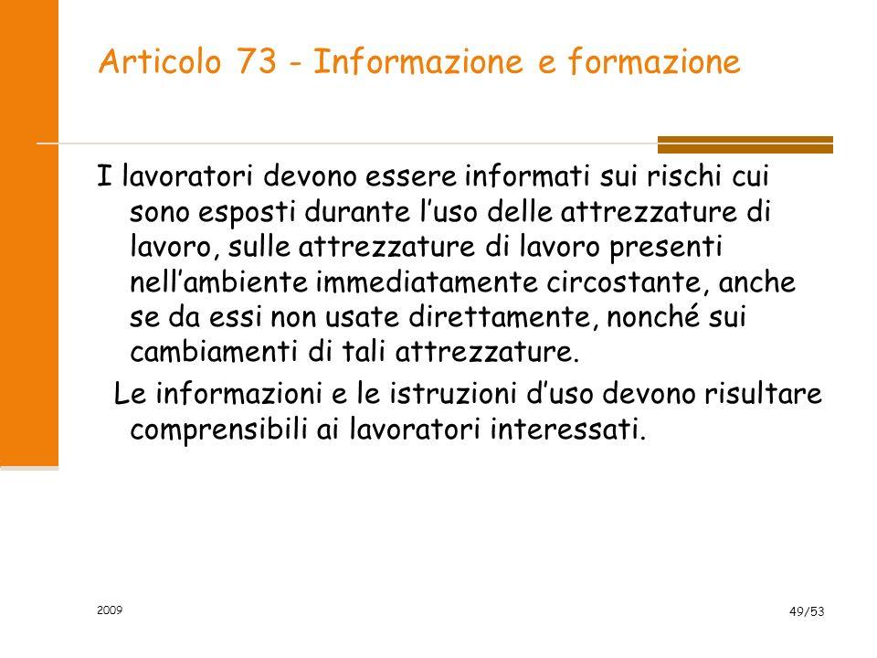 Articolo 73 - Informazione e formazione